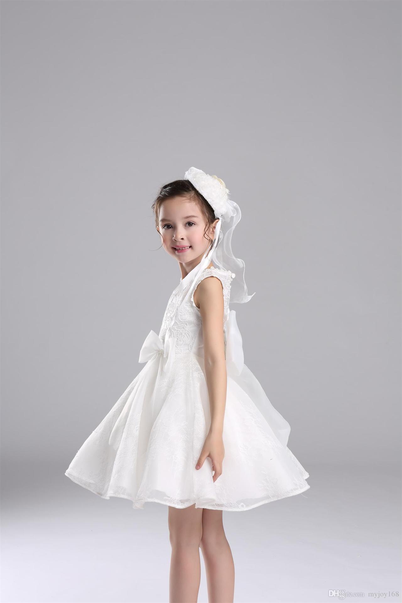 2016 New Design Flower Baby Girl Dresses Children White Princess