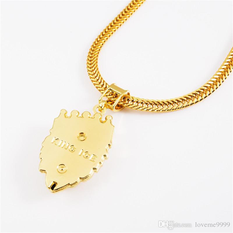 Высокое качество 18K позолоченные мужские хип-хоп Лев головы короны Rhinestone ожерелье Рэп Золотой король льва Подвески королей Змея цепи ожерелье Мужчины