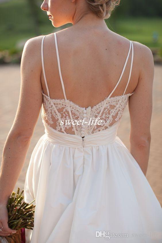 Тафта Boho Country Свадебные платья 2020 Кружева Аппликация V-образным вырезом на открытом воздухе Свадебные платья с низкой спинкой на заказ Длина пола дешево