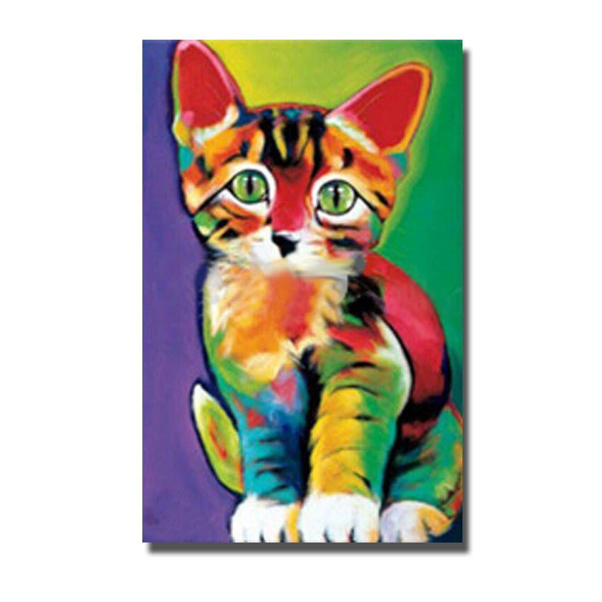 Satın Al ücretsiz Kargo Renkli Kedi Yağlıboya El Yapımı Tuval Boyama Odası Duvar Dekor Yüksek Kaliteli Hayvan Duvar Resimleri Yok çerçeveli 2136