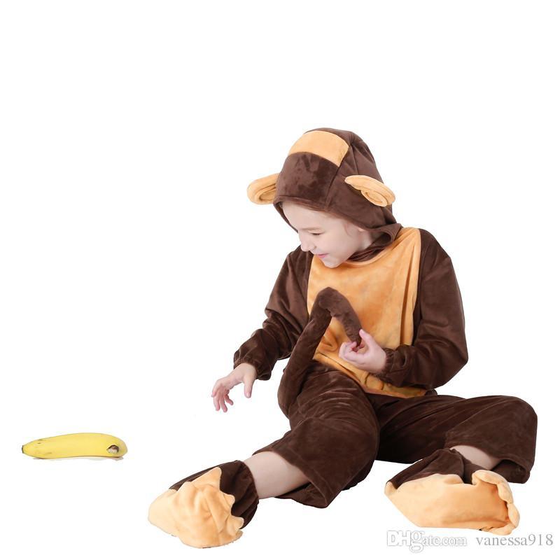 Winter Monkey Onesies Flannel Pajama Sets kids Unisex Cosplay Costume Animal Pyjamas Homewear All in One Suit PS044