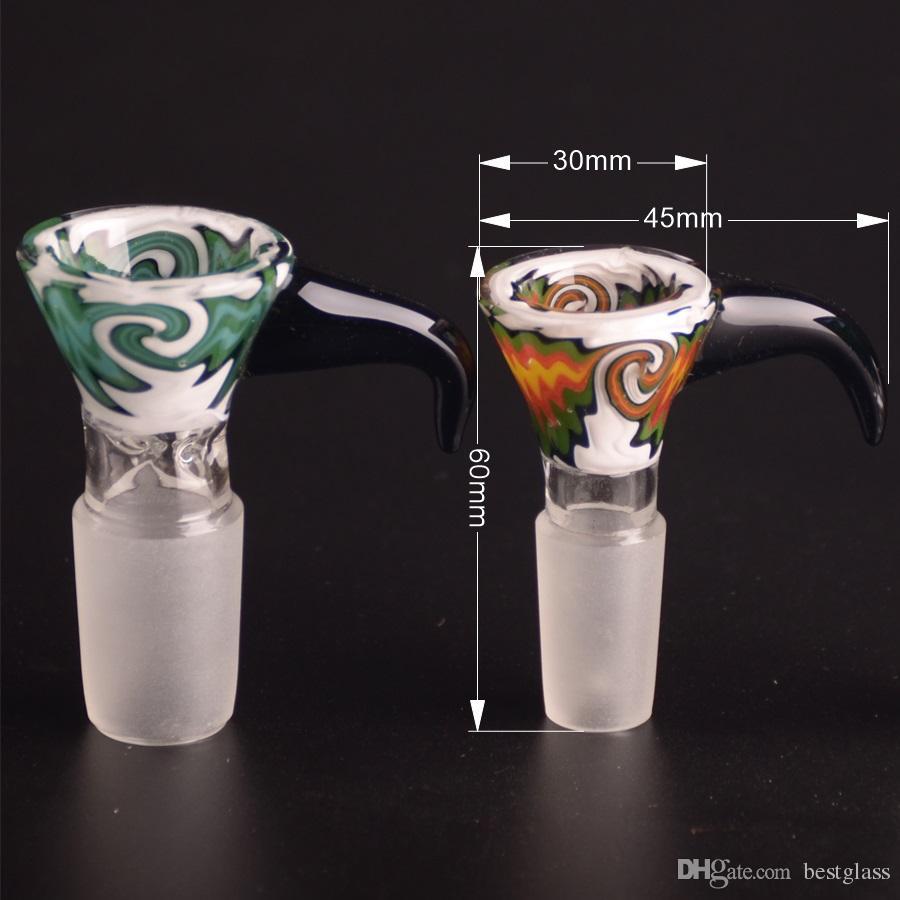 Reversão de BACIA DE VIDRO COR Tipo de cone com cabo de linhas mistas a cores com junta macho de 14,5 mm ou 18,8 mm
