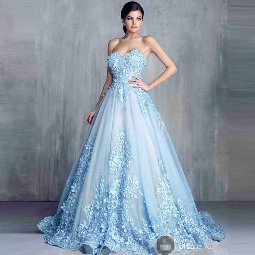 Ziad Nakad Charming 3D floral Light Blue Appliques Long Evening Dresses 2019 handmade flower Sweetheart Ball Gown Lace Prom pageant Gown