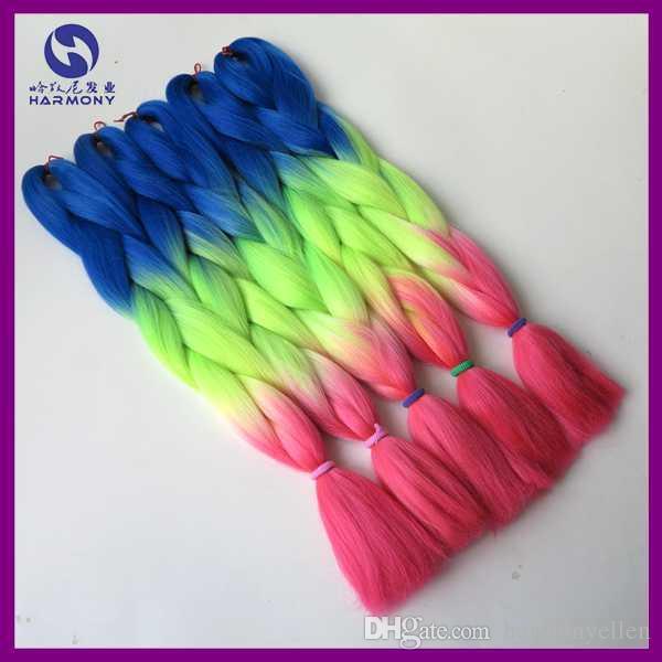 "100g/pc 24"" Blue Neon Yellow Pink Ombre Kanekalon Braiding Hair Synthetic Two Tone Kanekalon Jumbo Braid Hair Extensions"