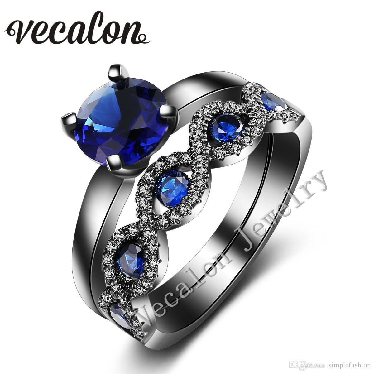 2019 Vecalon Cross Women Wedding Band Ring Set 2ct Blue Sapphire