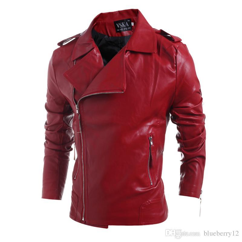 2017 자신의 브랜드 디자이너 남성 가죽 자켓 코트 패션 옷깃 넥 슬림 남성 자켓 가을 겨울