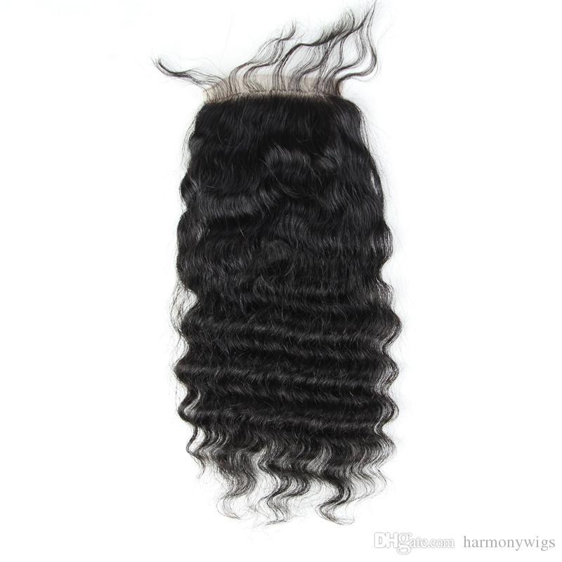 Brasilianisches Menschenhaar volle Spitze-Verschlüsse 4x4inch natürliche Farbe gerade Körper tiefe verworrene lose lockige Welle Haarverlängerungen