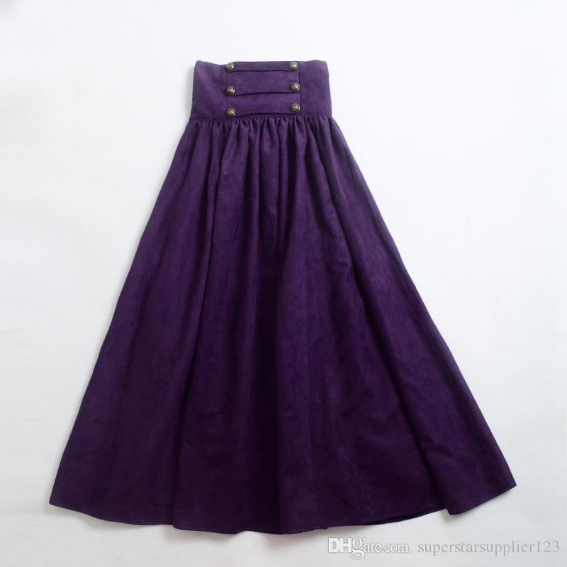Victorian Civil War Steampunk Walk Skirt Women Vintage High Waist Gothic Lolita Skirts Blue/Green/Brown/Purple