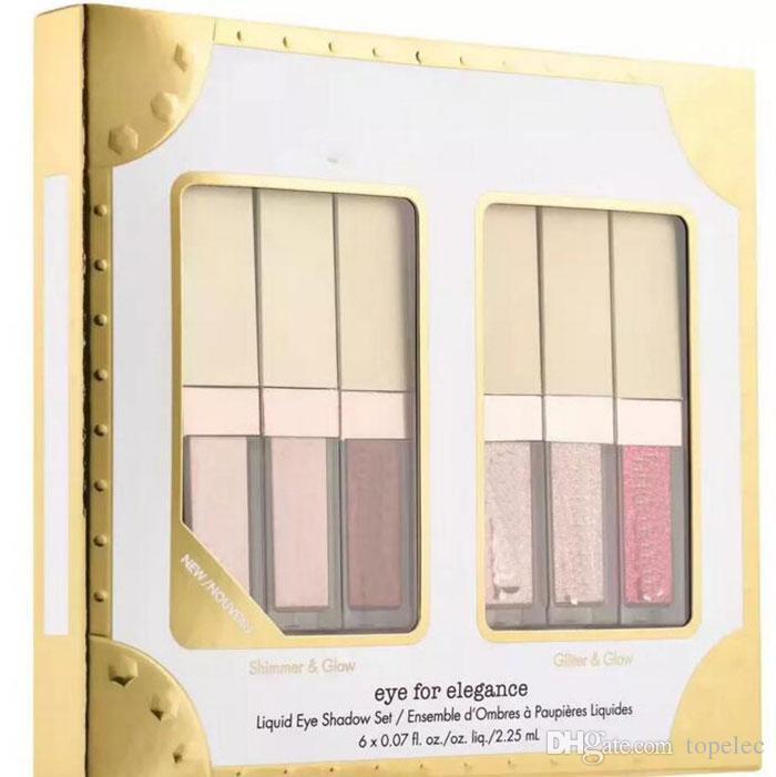 Elegance set Için yeni Göz Pırıltılı Glitter Sıvı Göz Farı 6 adet Seyahat Seti makyaj paletleri Ücretsiz kargo