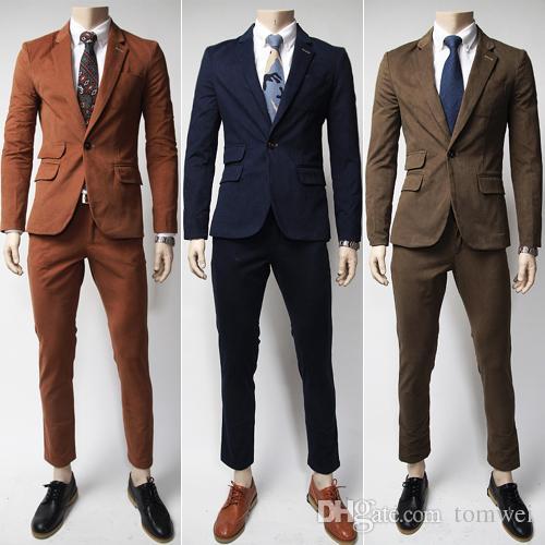 2018 Wedding Blazers Men Korean Slim Suits Solid Color Clothes ...