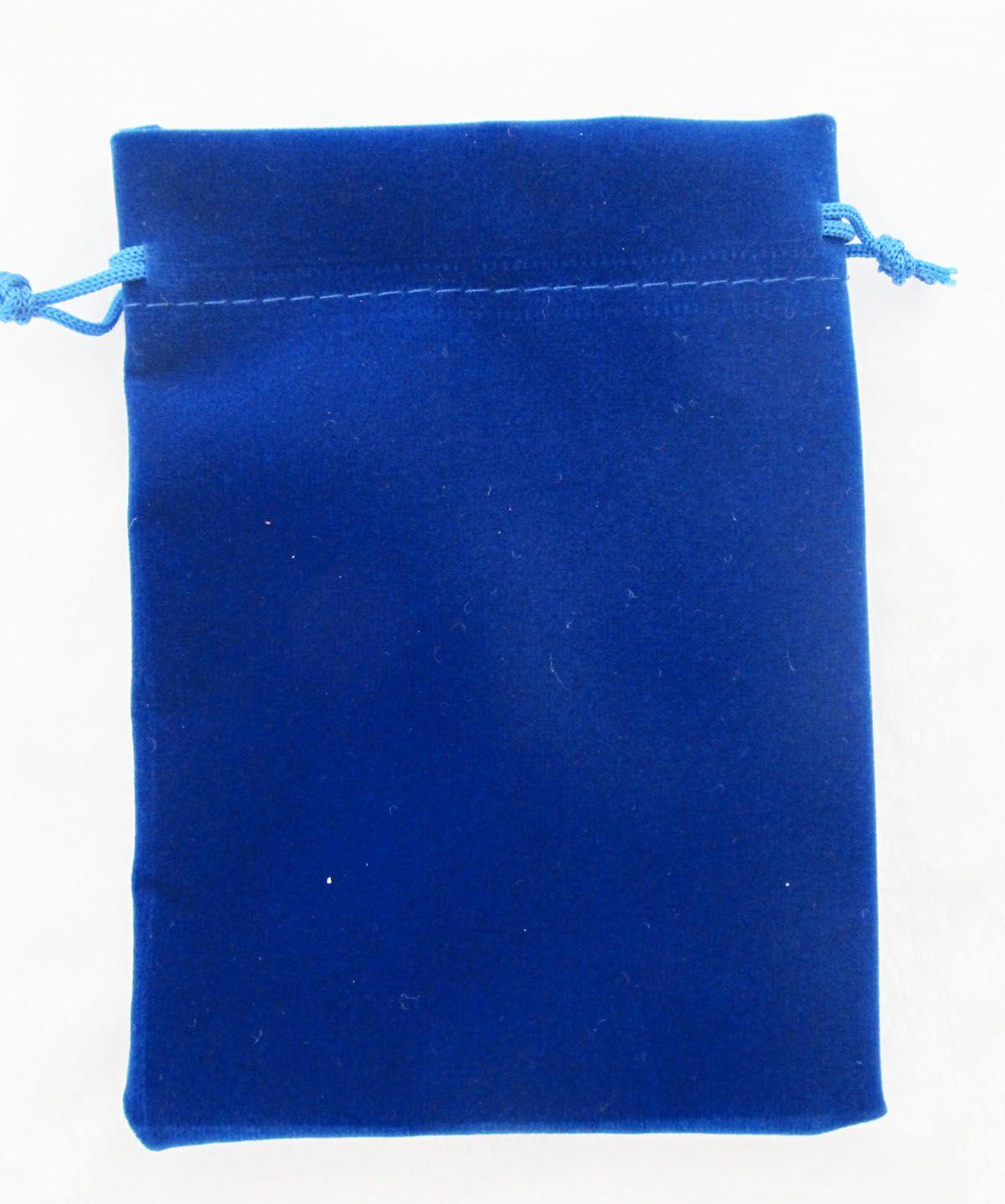Blue Velour Velvet Bag Jewelry Pouch 11 X 15 cm  4.3 x 5.9 inch  Gift Bags