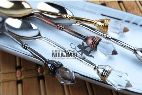 100 개 바 스푼 아연 합금 많이 10.2cm 4 색 빈티지 모조 다이아몬드 미니 스푼 캐터링 장비 대여 JJ0084