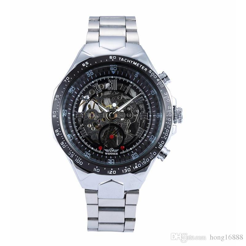 New fashion steel men male clock winner brand stylish design classic mechanical self wind wrist dress skeleton watch gift + box wholesale