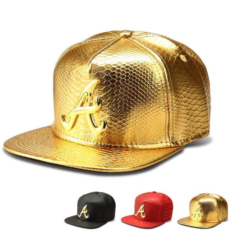 c8f999296d4e8 New style Faux Leather A Logo Baseball caps Gold Crocodile Grain snapback  DJ hip hop hats men women casquette hat