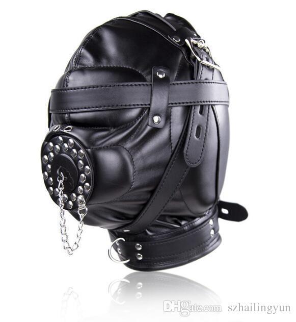 New listing Kinky Fetish Sex Bondage Discipline Hood Soft Leather Sensory Deprivation Mask with Removable Cover Plug