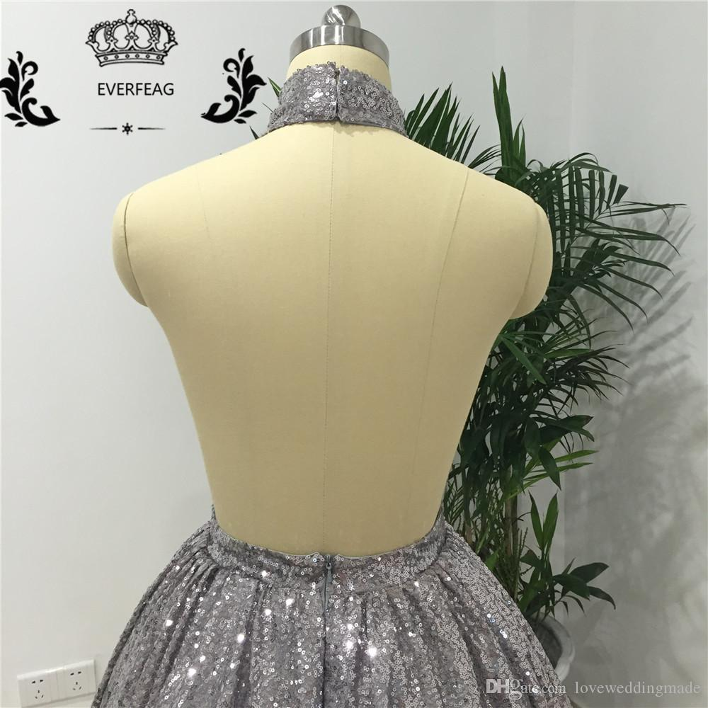 Sparkly Sequined Sliver Prom Dresses 2017 In Stock Short Cocktail Dress Sexy Backless Halter Homecoming Party Gowns