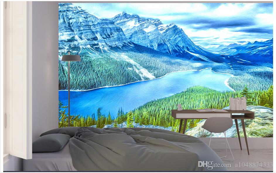 custom 3d photo wallpaper murals wall paper Hand-painted Canadian Rocky Mountains 3d living room wallpaper background wall home decor