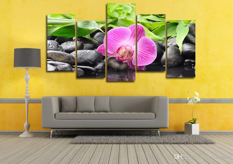 5 Paneli HD Baskılı Pembe Orkide Taş Kanvas Odası Dekor Poster Resim Tuval Duvar Boyama Baskı Baskı Boyama