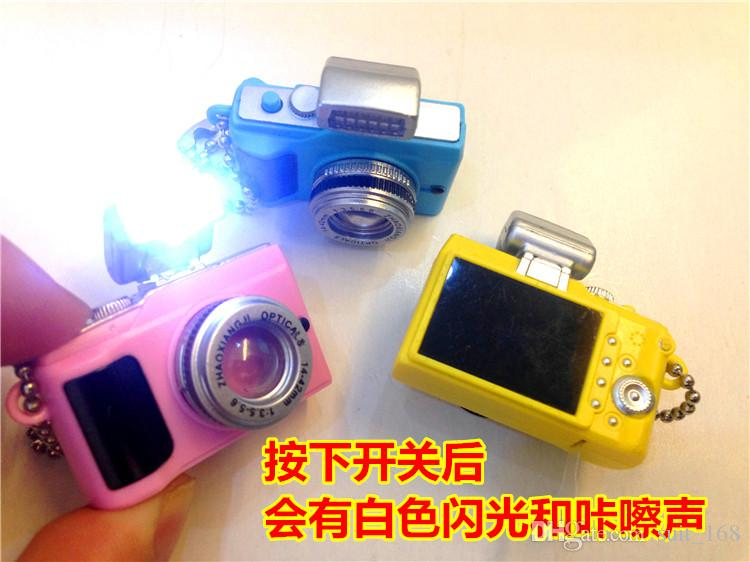 whilesale 2015 fashion models SLR cameras Led luminous voice keychain creative gift pendant flashlight