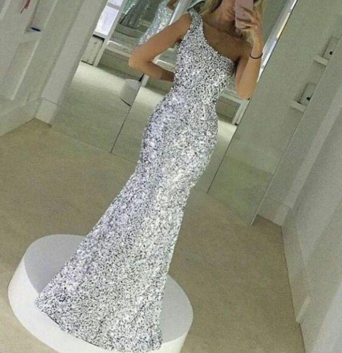 Prata Lantejoulas Vestidos de Noite de Um Ombro Estilo Sereia Vestidos de Baile Sem Mangas Até O Chão Custom Made Voltar Zipper 2017 Novos Vestidos de Festa