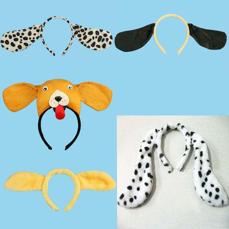 2018 Animal Dog Dalmatian Ear Headband Kids Tail Cosplay Performance