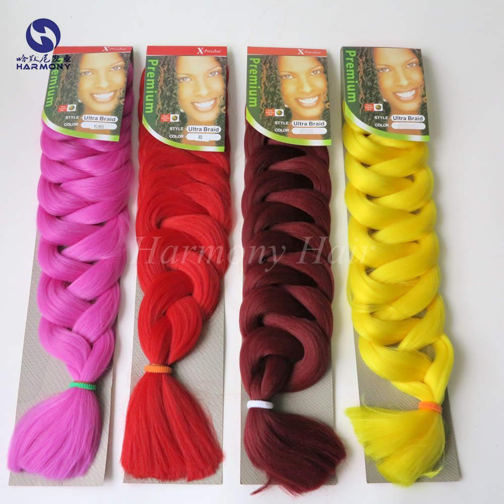 82inch X-pression ombre dois tons amarelo rosa branco trança de cabelo a granel 165g kanekalon trança de cabelo sintético fibra de alta temperatura
