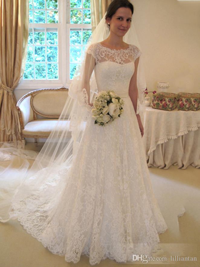 Vintage Spitze Brautkleider Flügelärmeln Juwel Brautkleid Brautkleider Einfache Brautkleider vestidos de novia Bedeckte Knöpfe