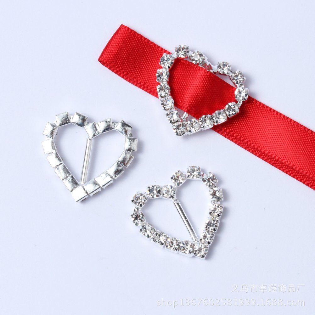 20MM Love Heart Shape Rhinestone Buckles Invitation Ribbon Slider ...