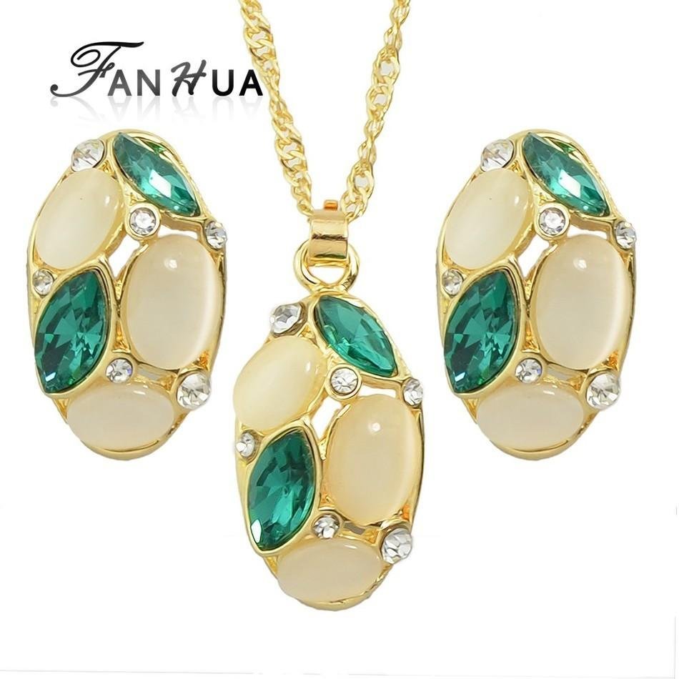 Online Cheap Luxurious Designer Jewelry Sets Gold Color Chain With