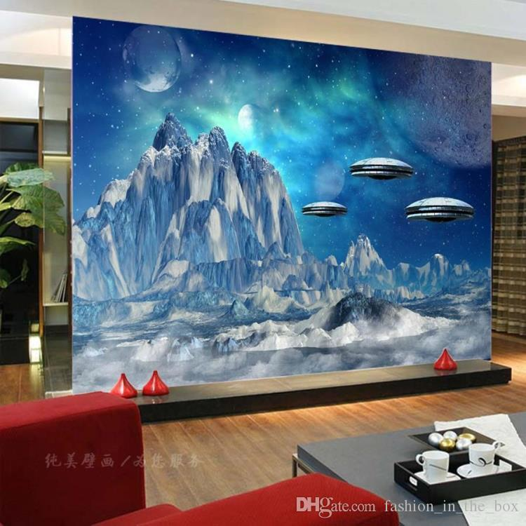 3d Space Wallpaper Custom Snow Mountain Photo Wallpaper Bedroom Tv ...