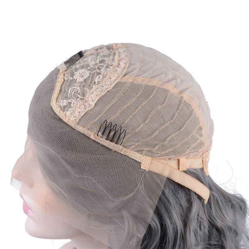 Parrucche anteriori in pizzo Parrucca grigia ondulata a taglio corto con taglio a coste Parrucche sintetiche senza colla donne con 14 pollici