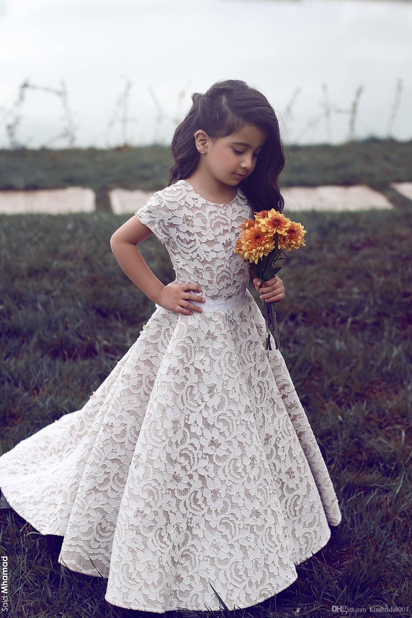 Düğün Çiçek Plaj Kızlar Için Elbiseler Tam El Yapımı Dantel Prenses Abiye Güzel Kızlar Pageant Elbise Cap Kollu Resmi Elbiseler