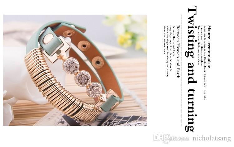 Real 18K Gold Plated Genuine Leather Bracelet With Crystal Fashion Stainless Steel Jewelry for Women CZ Stone Charm Bracelets