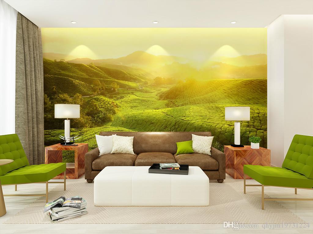 Non Woven Wallpaper Mural Modern Hillside Scenery Sunset Applicable ...