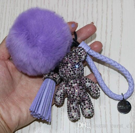 Luxus Cute Bling Voll CZ Strass Düsteren Bär Keychain Auto Schlüsselanhänger Ring Anhänger Für Tasche Charme Hotsale Geschenke