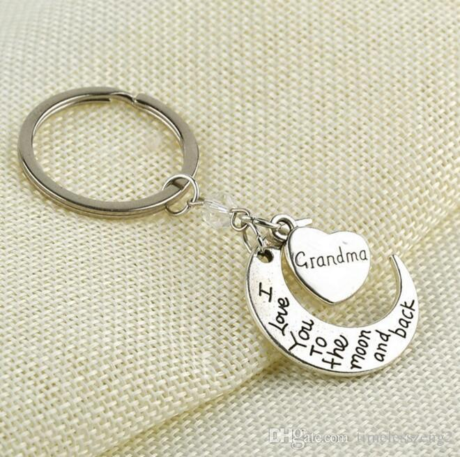 Moon heart key ring Family member mom dad love family's keychain key ring Europe and USA accessories Best gift for family