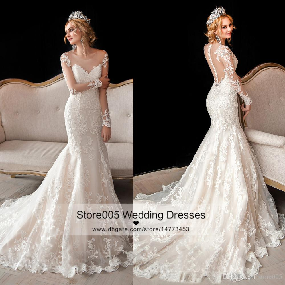 Luxury Vintage Lace Mermaid Wedding Dress Long Sleeve Winter Country Bride Bridal Gowns 2017 Buttons Z510 Sexy Ball Gown