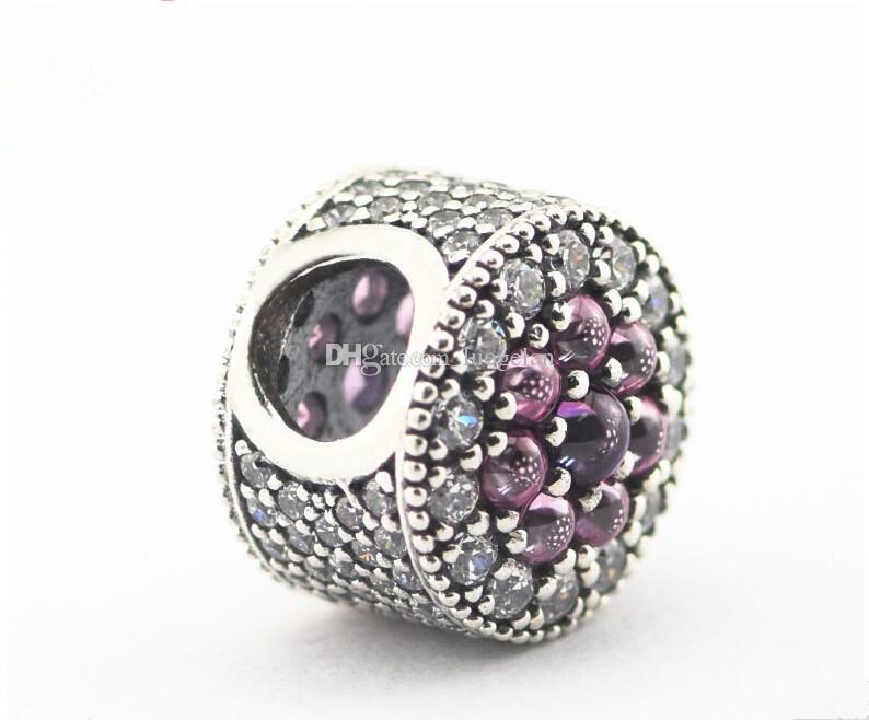 pandora chatoyantes gouttelettes perles en argent avec violet charmes CZ 925 en argent sterling perles lâches pour fil bracelet fashon bijoux authentique