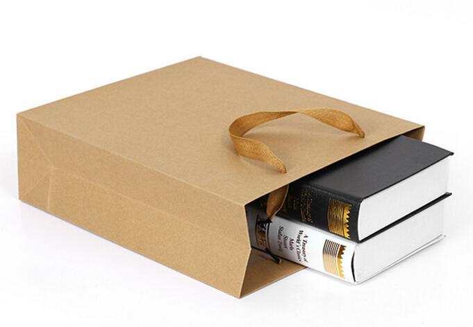 2016 10 tamaños de stock y bolsa de regalo de papel personalizada bolsa de papel kraft marrón con asas al por mayor ELB151