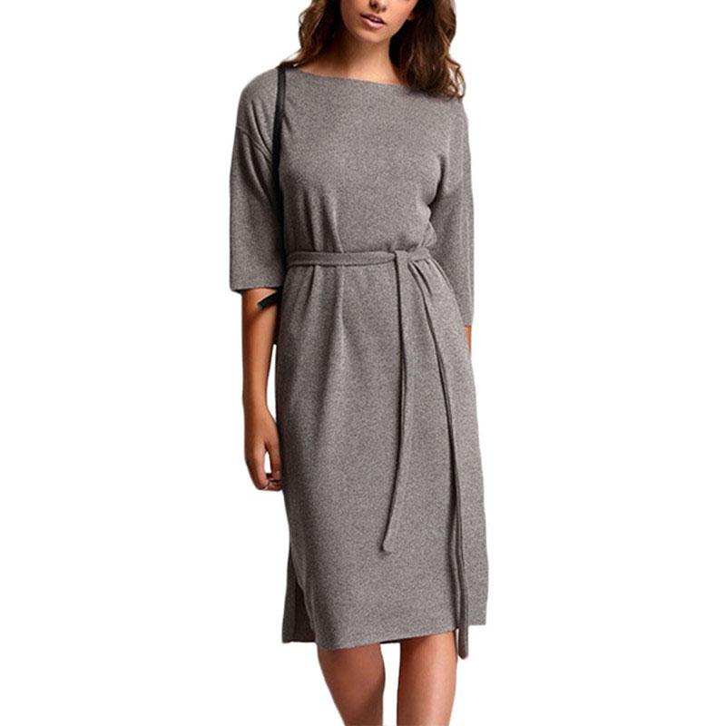 e43490deb389 Casual Summer Ladies Grey Crew Neck Tie Waist Dresses Cute 2016 New Women  Half Sleeve Knee Length Dress Womens Sundresses On Sale Party And Evening  Dresses ...
