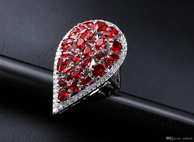 멋진 반지! 5 색 큐빅 지르코니아 돌 큰 물방울 모양로 듐 도금 패션 반지