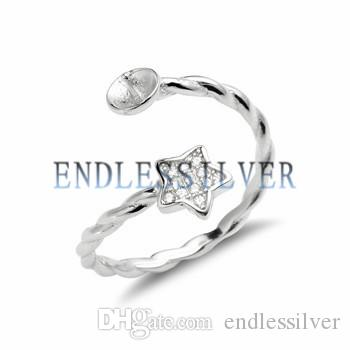 Star Ring Settings Base Twisted Band 925 Sterling Silver Zircon Findings Pearl Mounting for Pearl Party