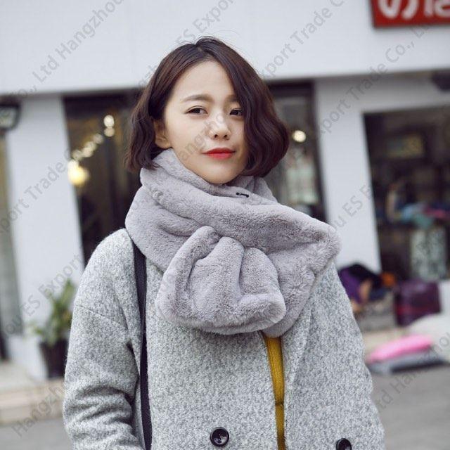 Fur Plush Imitation Rex Rabbit Hair Scarves Female Autumn And Winter Thick Shawl Fake Collar Fur Collar 90x20cm