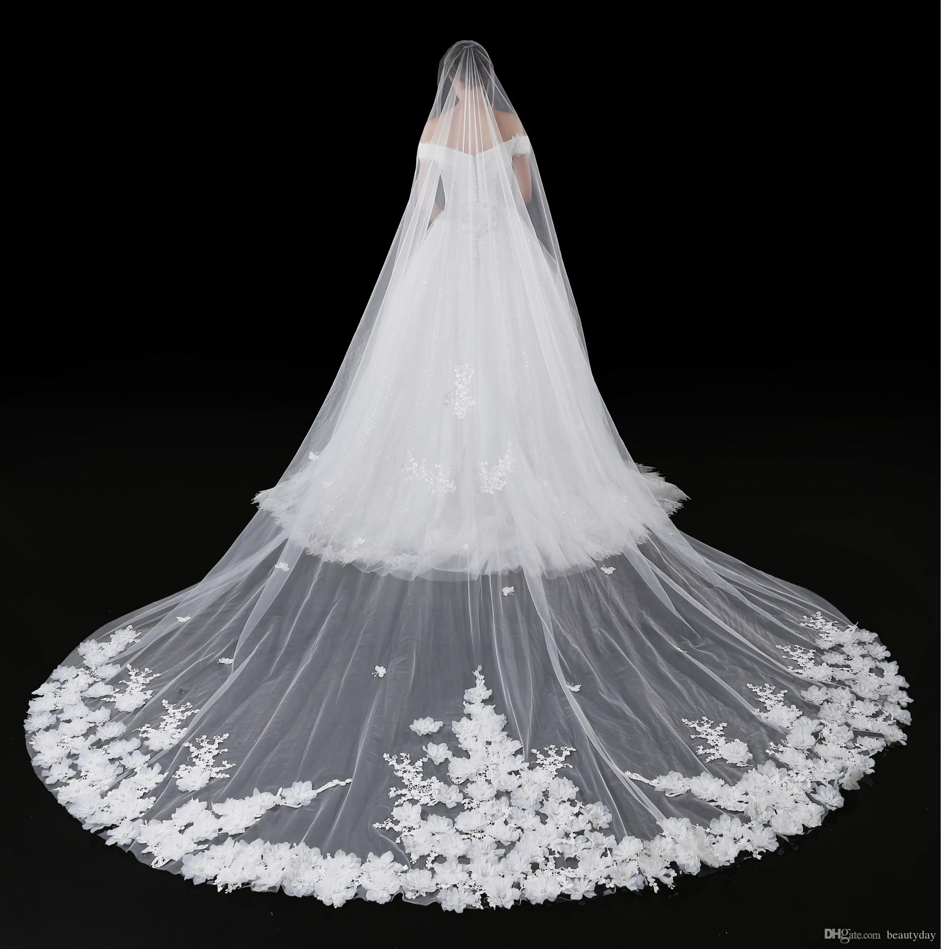 2018 Cathedral Veil For Wedding Dress Bridal Gown 3D Flowers Soft Tulle White Ivory One Layer With Comb 3 Meters In Stock