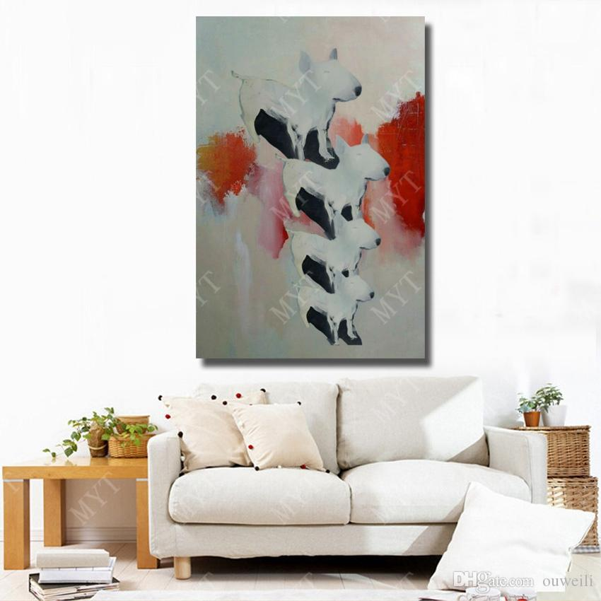 Cute pet dog pictures frameless by hand made top quality modern living room wall decoration acrylic oil painting