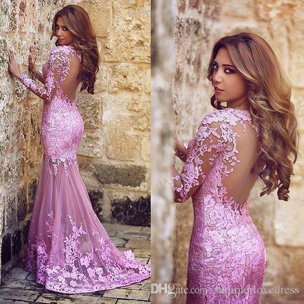 New Arabic Sexy Pink Sheer Long Sleeves Lace Mermaid Prom Dresses Tulle Lace Applique Seen Through Back Formal Party Evening Dresses
