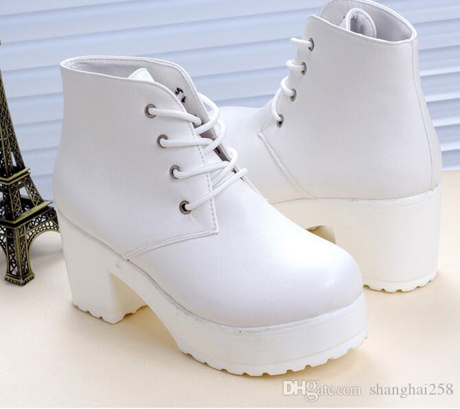 Printemps 2016 nouvelles bottes Martin à muffins à fond épais attachent des bottes à talons hauts avec des bottes pour dames