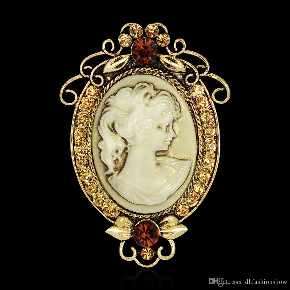 Antique Silver   Gold Oval Beauty Queen Cameo Brooches for Women Crystal  Flower Rhinestone Brooch Pins Vintage Jewelry Christmas Gift Cameo Brooches  Brooch ... 78da0838b38b