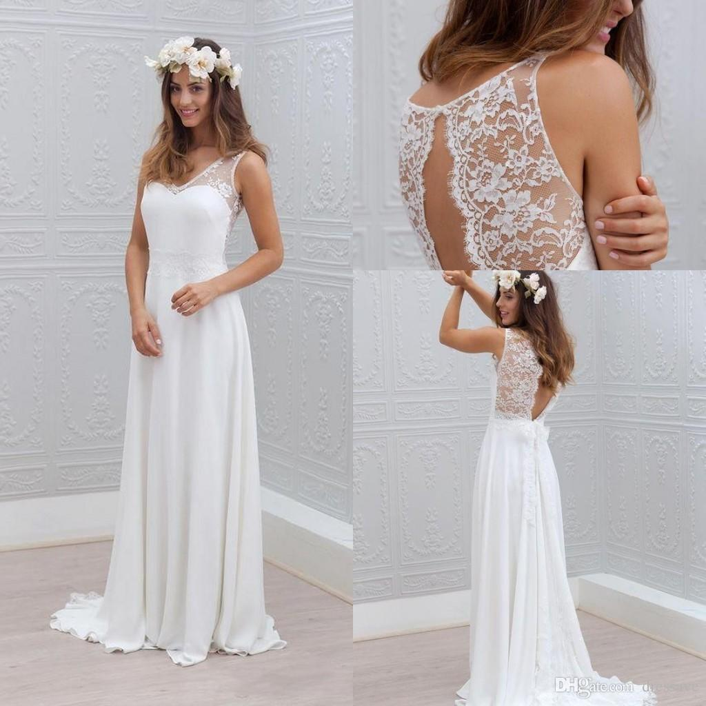 Discount Boho Beach Wedding Dresses 2017 V Neck Sweep Train Lace ...