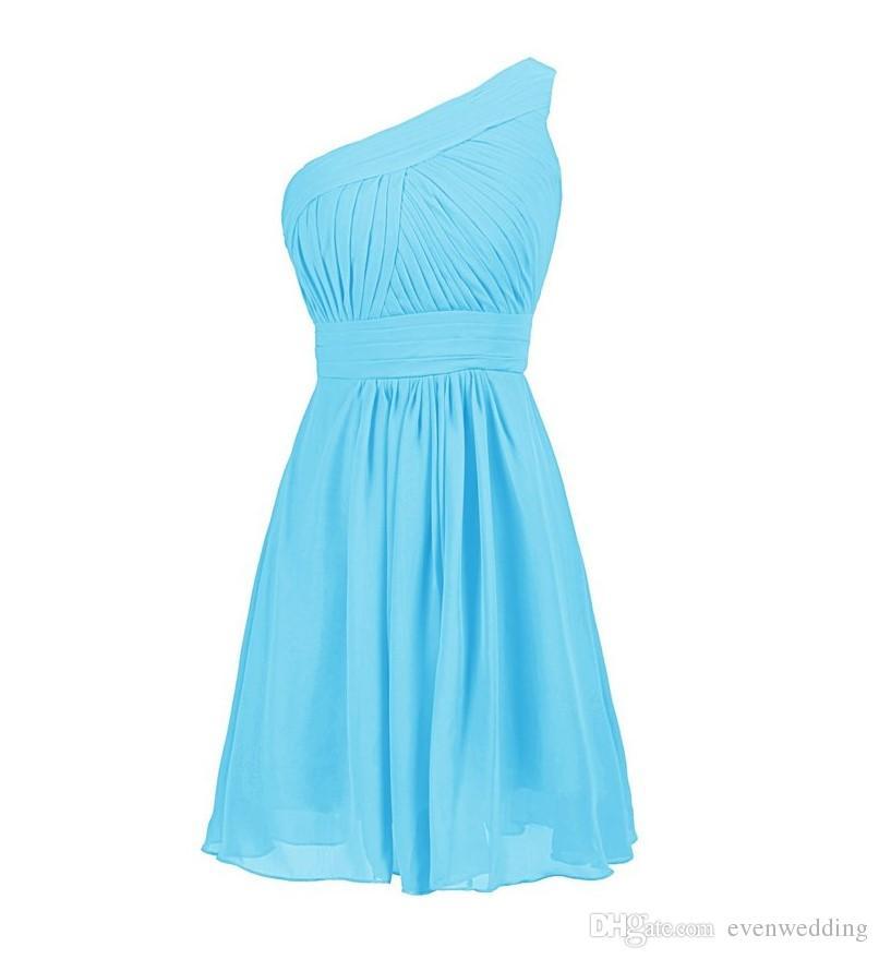 Pleated 한 어깨 짧은 쉬폰 신부 들러리 드레스 2019 무릎 길이 들러리 드레스 우아한 웨딩 파티 드레스